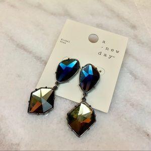 a new day • geometric oversized gemstone earrings